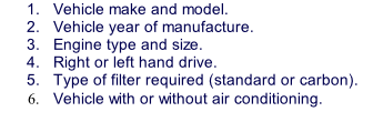 Vehicle make and model. Vehicle year of manufacture. Engine type and size. Right or left hand drive. Type of filter required (standard or carbon). Vehicle with or without air conditioning.